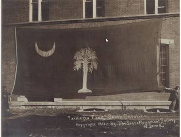 This state flag was captured by Iowa troops on February 17, 1865. Photograph was taken by the State Historical Society of Iowa. The flag is on loan today from them and can be seen at South Carolina State Museum.